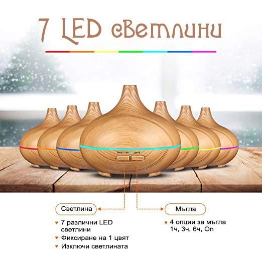 7 led светлини за дифузер за ароматерапия с етерични масла от eterim
